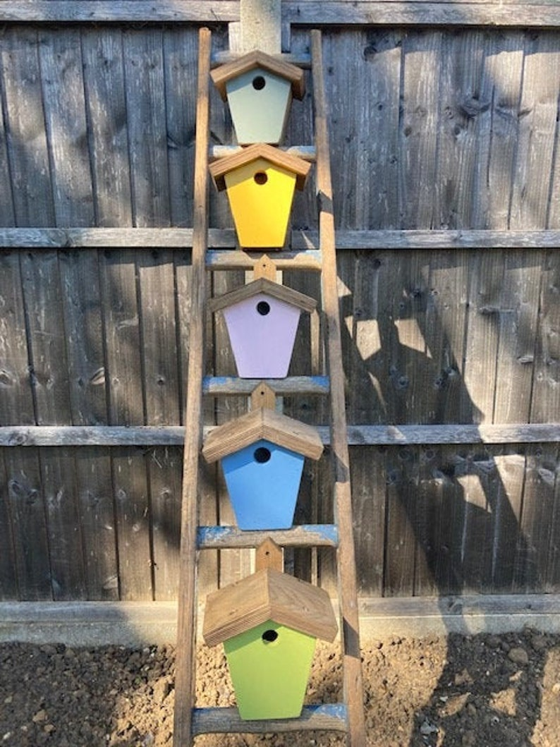 Painted handmade birdhouses nesting boxes solid wood image 0