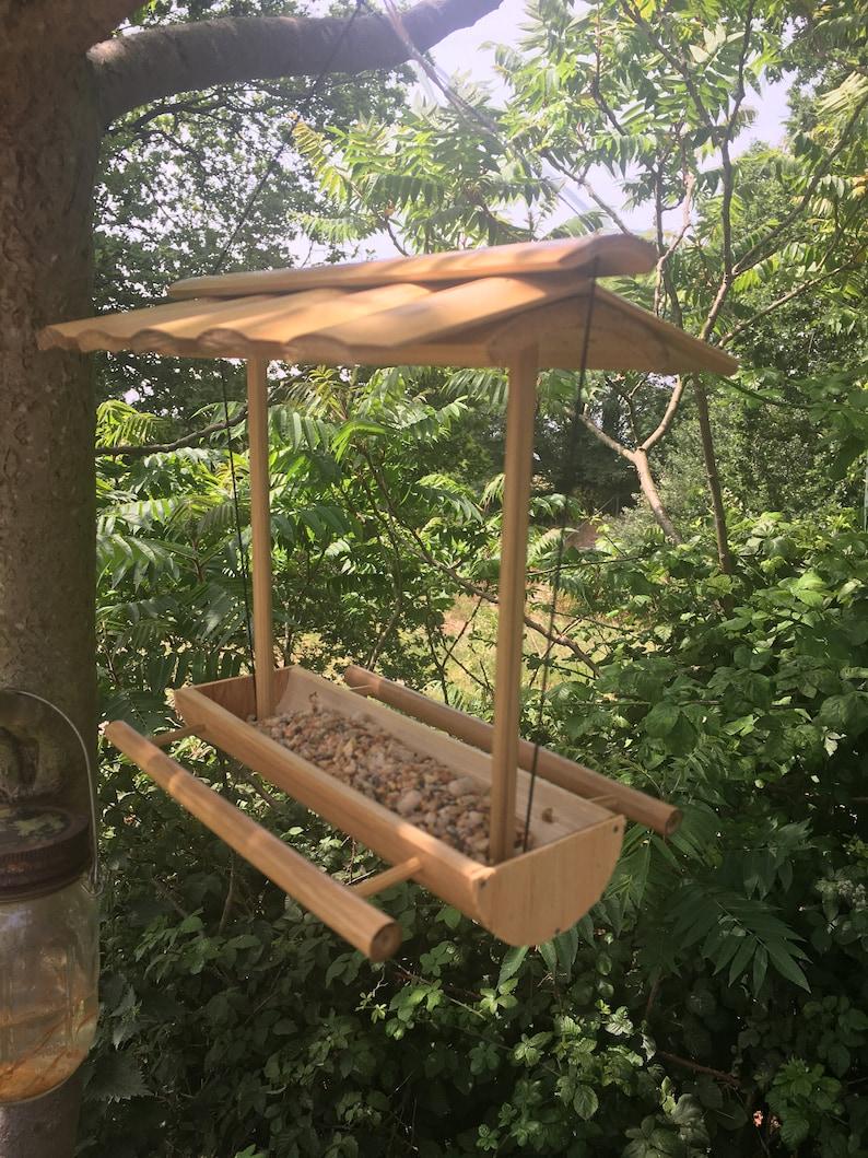 Hanging bird feeder handmade in Bali Fairtrade Bamboo Bird image 0