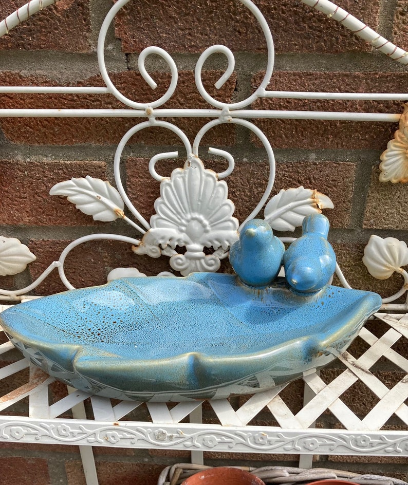 Ceramic bird bath feeder food holder garden decor Bird image 0