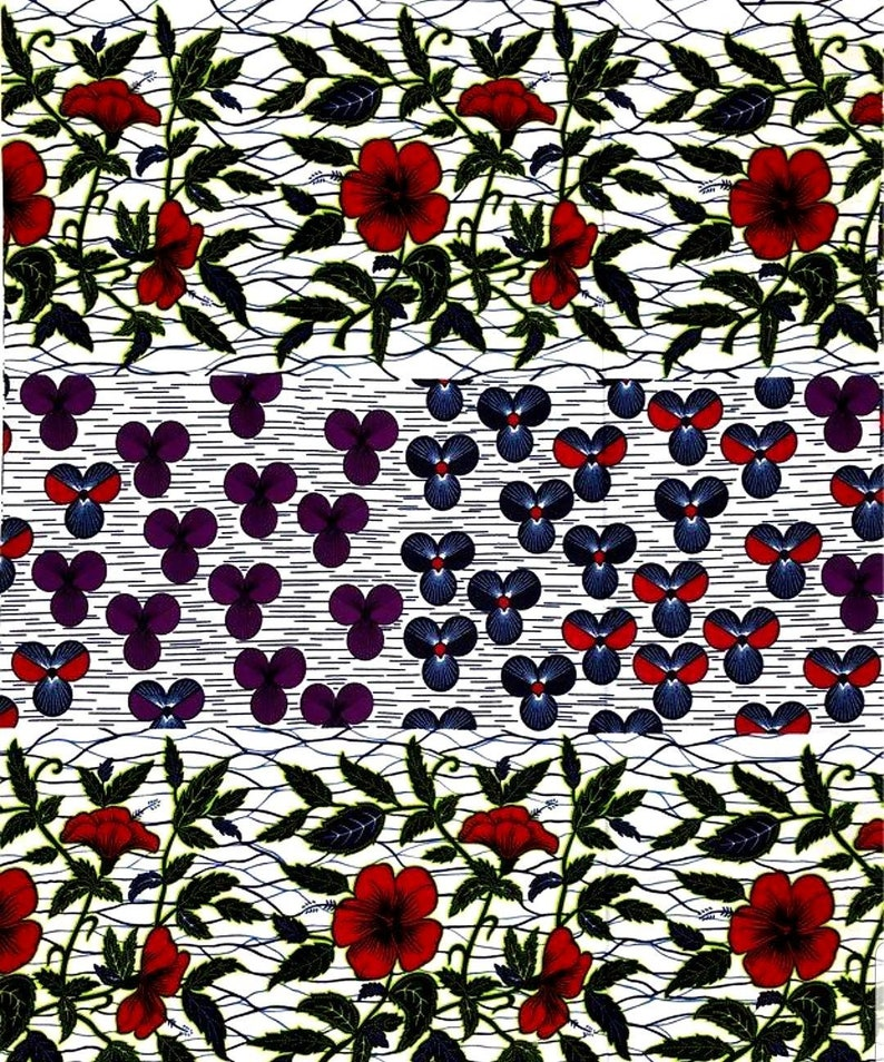 Wax fabric 100/% mixed cotton 2 beautiful prints same fabric measures from 50cm on 116 laize.