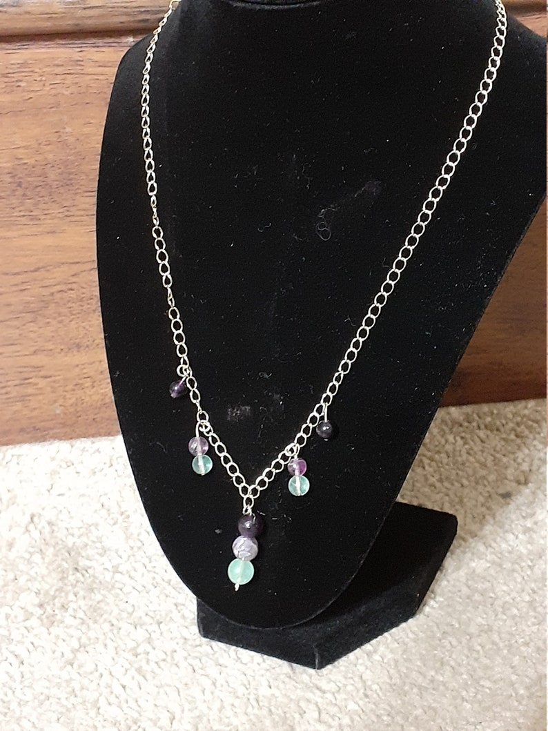 Fluorite gold plated chained 24 necklace