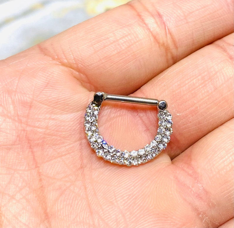 Nose Ring. Septum Ring Septum Jewelry 14G Double Line Clear Stones 12MM Septum Clicker Ring Septum Piercing
