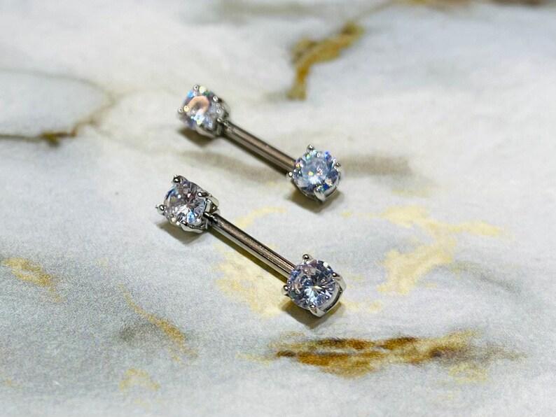 Nipple Jewelry Nipple Piercing Nipple Rings Pair of 14G Silver Prong Set Sparkling 7mm Stone Nipple Barbells