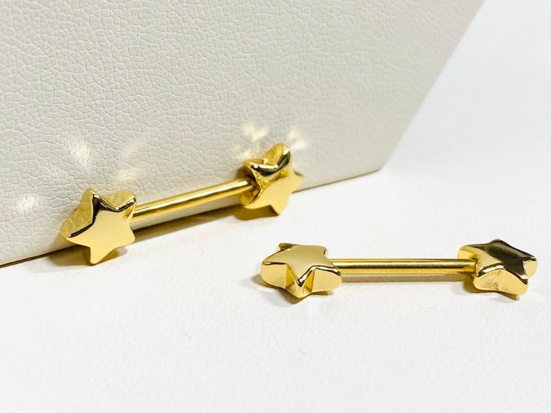 Nipple Jewelry Nipple Piercings 14G Gold Classic Star Nipple Barbell Nipple Rings