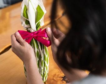 Heirloom ReWrap Green Leaf - Furoshiki reusable giftwrap