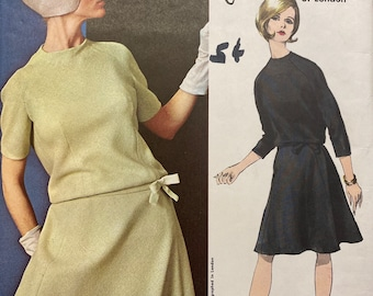 Side Back Buttoned Cocktail Dress by John Cavanagh--Vogue 1235-Size 14  Bust 34  UNCUT with sew-In LABEL Outstanding Vogue Couturier Design