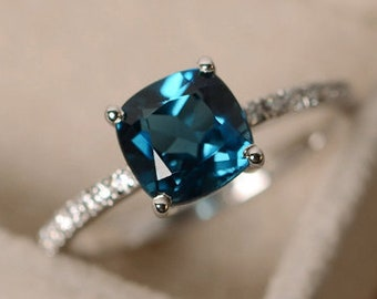 Natural London Blue Topaz Stone Silver Ring perfect gift for Her