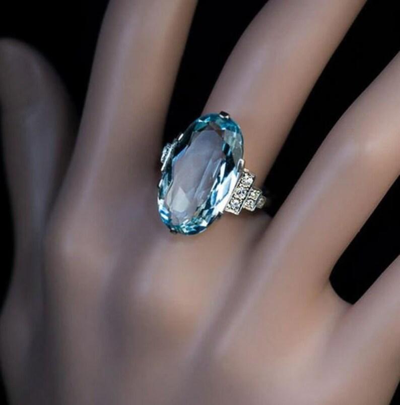 Sky Blue Ring Prong Setting Ring. Rings For Women Engagement Ring Blue Ring Wedding Ring Love Ring Sky Blue Oval Ring