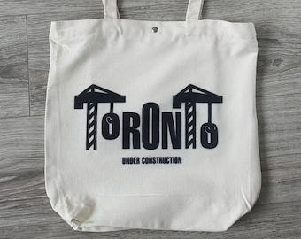 Toronto Construction Totebag 12oz canvas . Toronto Summer Reusable tote bag