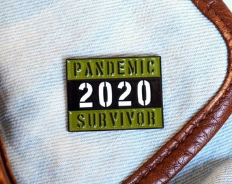 Camo Pandemic Survivor 2020 Soft Enamel Pin + 2 Stickers