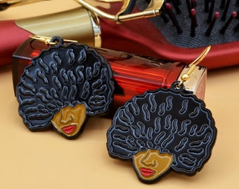 Curly Afro Earrings ( Black Girl Magic Earrings) + Stickers