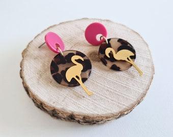 1 Hole Color Code: A13-64.1x34.16x2.66mm AC1337E Flamingo Shaped Tortoise Shell Pendant Acetate Acrylic Earring Charms