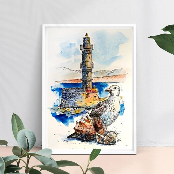 Lighthouse painting Original art Seagull watercolor Small artwork 7 by 5 by VerPaxArt