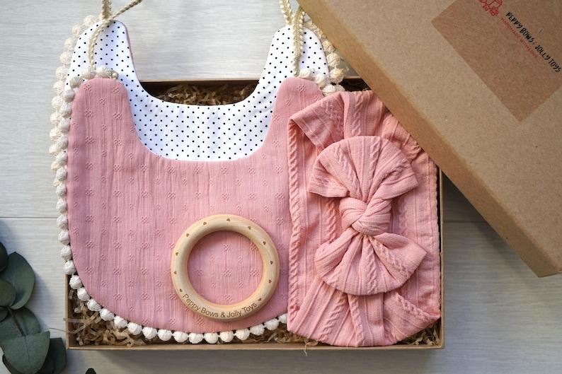 Baby Organic Gift SetBaby Girl Gift BoxReversible Bib/&Headband Gift SetBaby Shower GiftBaby Bow Headband Wooden Teething Ring