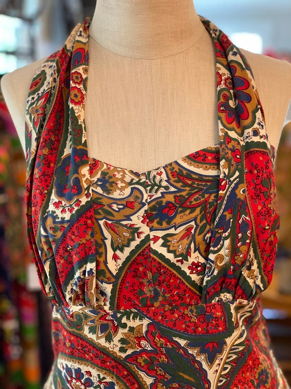 1950s Printed Halter Dress - image 2