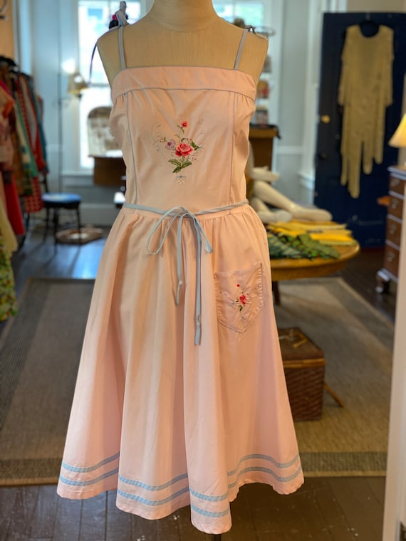 1970s Embroidered sun dress
