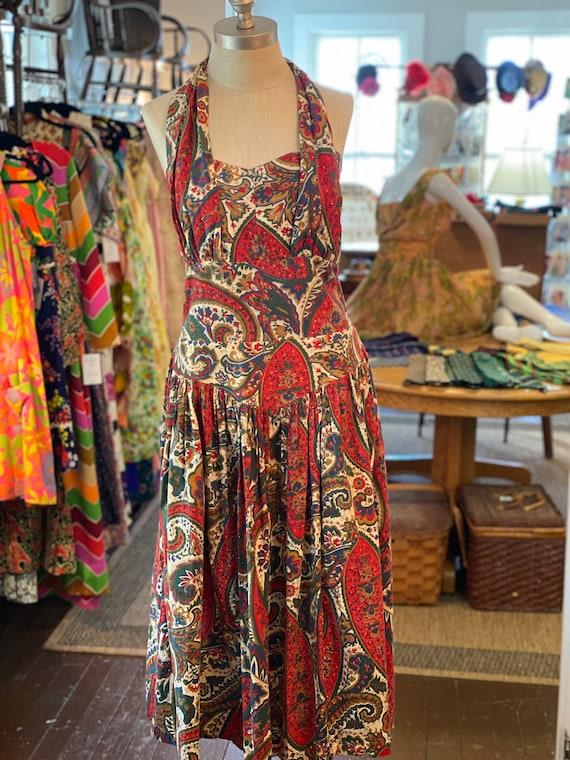 1950s Printed Halter Dress - image 1
