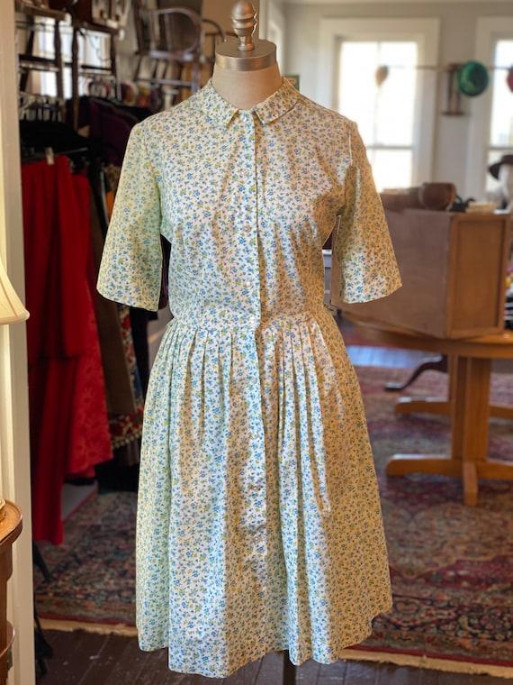 1950s Floral Cotton Dress
