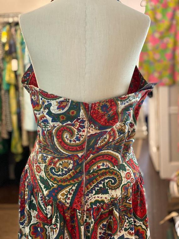 1950s Printed Halter Dress - image 4