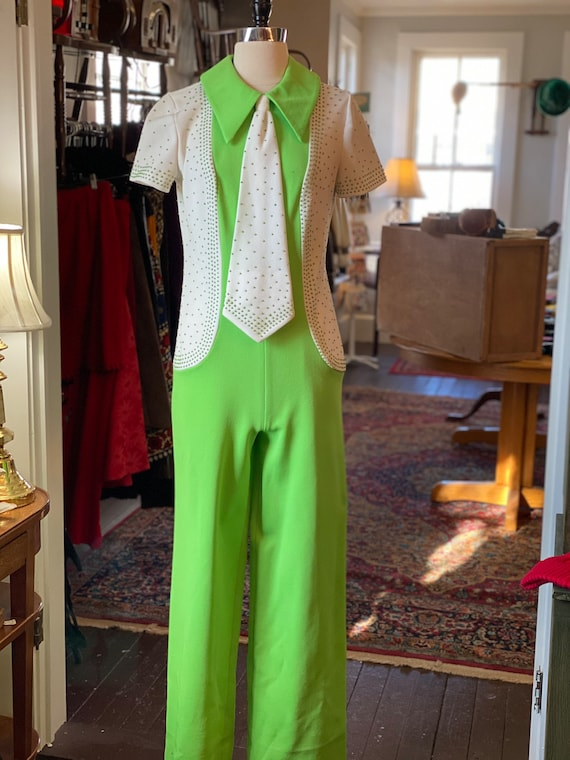 1970s lime green jumpsuit with tie