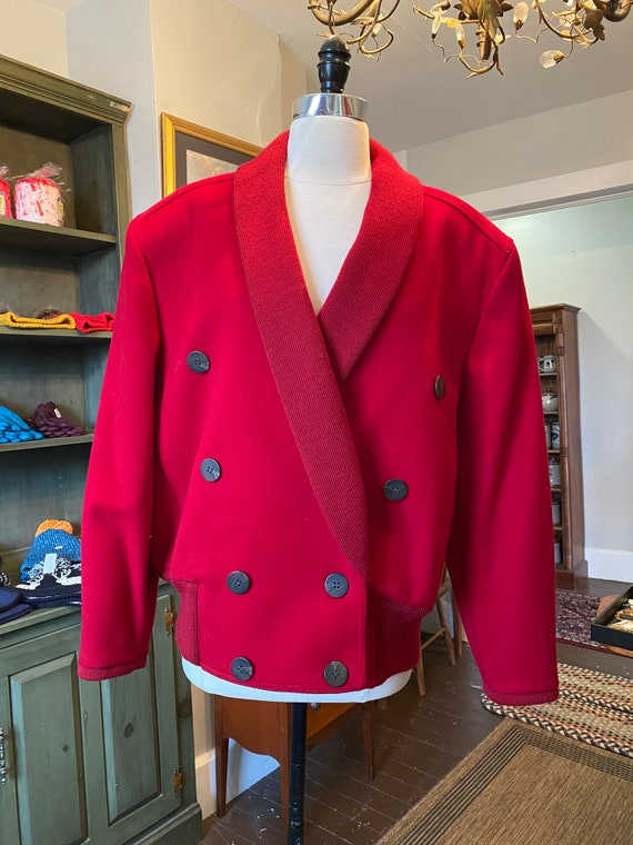 1980s red shawl collar coat