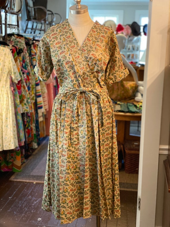 1950s Printed Wrap Dress