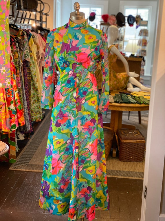 1970s neon watercolor maxi dress
