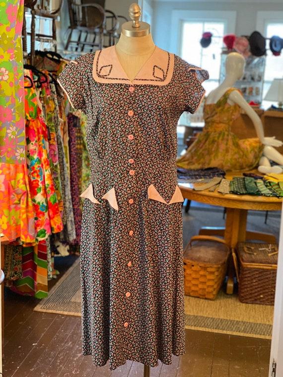 Late 1940s cotton print dress