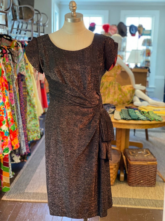 1950s lurex wiggle dress