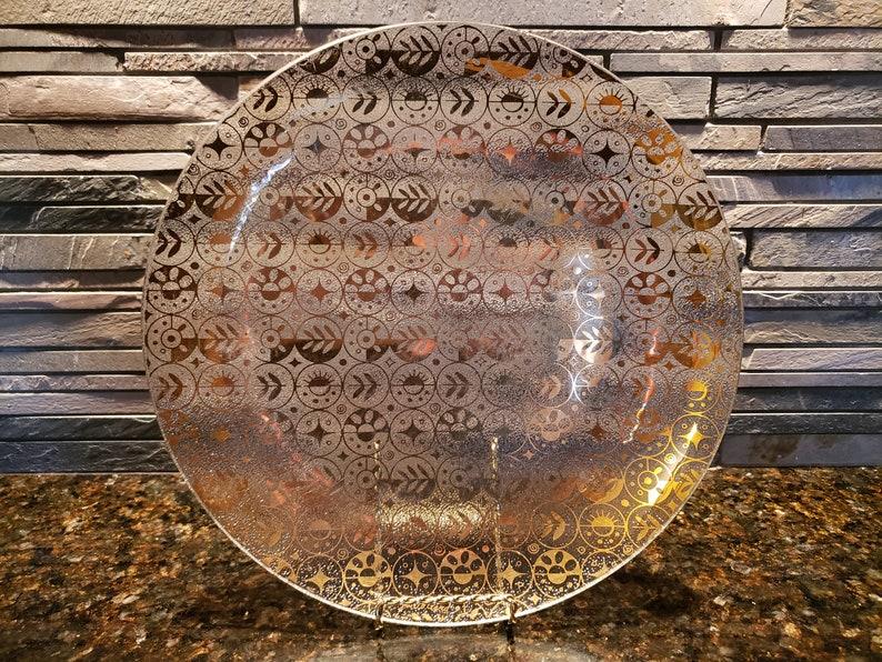 Vintage Georges Briard Gold Plated Glass Serving PlatePlatter
