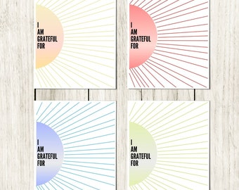Sunburst Gratitude Worksheet - Rainbow Set of 12