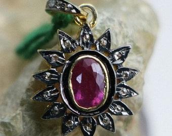 Christmas Special pendant Pink Tourmaline With Diamond Stunning PendantSterling Silver 925 Gold PlatedBeautiful Victorian Gift Pendant,