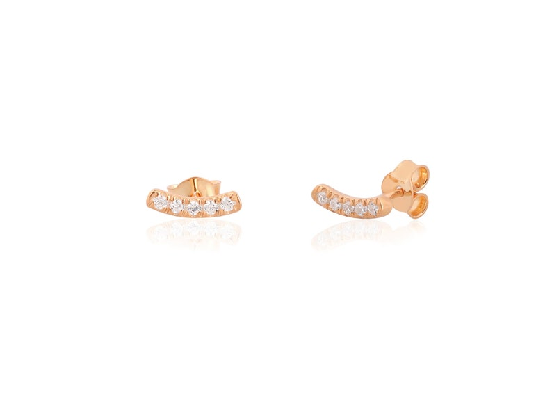 Curved Gold Bar Earrings Brithday Gift Mother Gift Tniy Diamond Bar Earring Initial 14K Solid Bar Stud Earring Dainty Bar Studs Earring