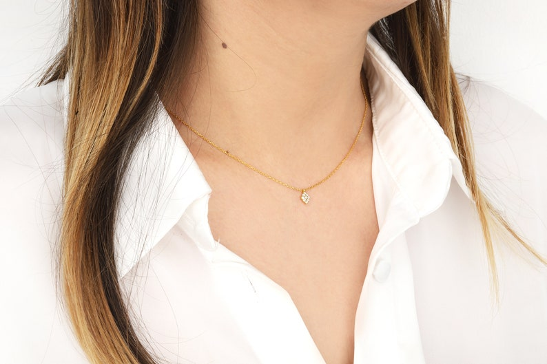 Cluster Stone Necklace Initial Diamond Necklace Jewelry Tniy Women 14K Gold Necklace Women Gift 18K Gold Necklace Mothers Gifts