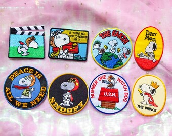 Snoopy Dear Mom Yellow Red Embroidered Sew Iron on Patches Clothes Bags For Kids