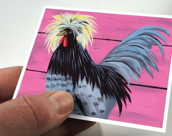 ATC Rooster Print Artist Trading Card Art Collector Gift Animal ACEO Small Format Art Rooster ACEO Card Miniature Art Chicken Aceo