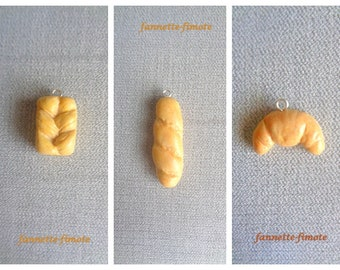 Charm or Charm Delicacies Viennoiseries of your choice: Brioche, Baguette de pain or Croissant in Fimo polymer dough - Sold individually