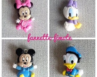 Charm or Breloque Minnie, Daisy, Mickey and Donald Baby in Fimo Polymer Paste to choose from - Sold individually