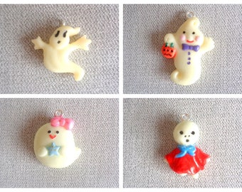 Charm or Charm Charm Halloween Ghosts with Choices in Fimo Polymer Paste - Sold individually