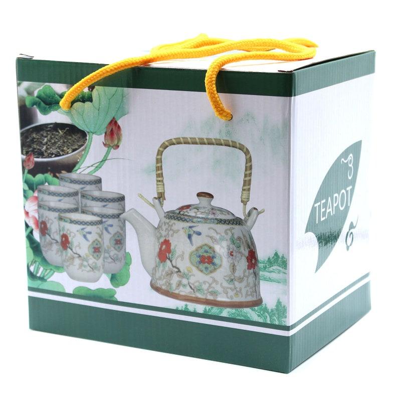 Herbal Teapot Set White Stone Oriental Teapot Set Ceramic Cups Herbal Teapot Kit Ceramics Tea Pot and 6 Cups