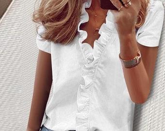 Women's Short Sleeve Ruffles Blouse