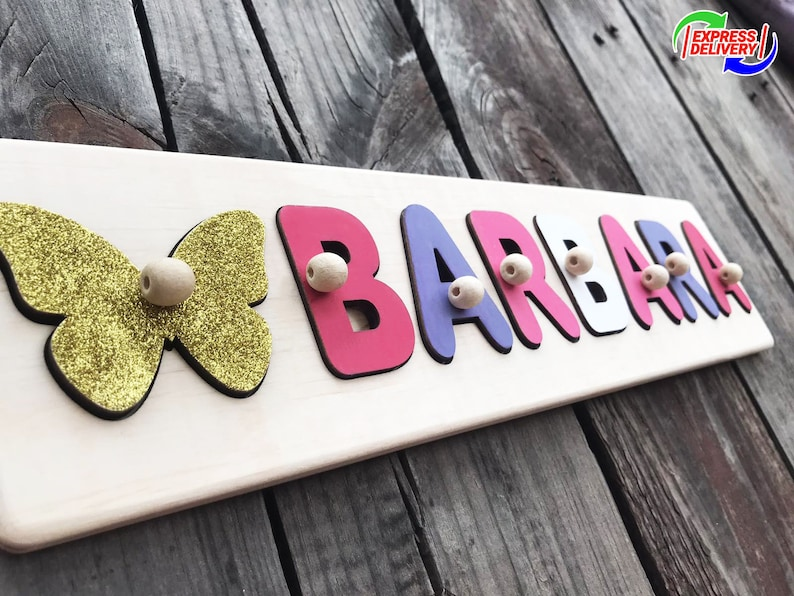 Girls Name Busy Puzzle with pegs Nursery Decor Name Baby ...
