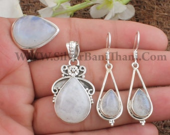 Moonstone Black Jewelry Set Specialty One-of-Kind Earrings /& Pendant Unique Gemstone Antiqued Brass S01