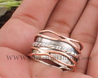 Women Wedding Jewelry Gift For Her 925 Sterling Silver /& Brass Carved Spinner Ring Designer Handmade Antiqued Silver Meditation Ring