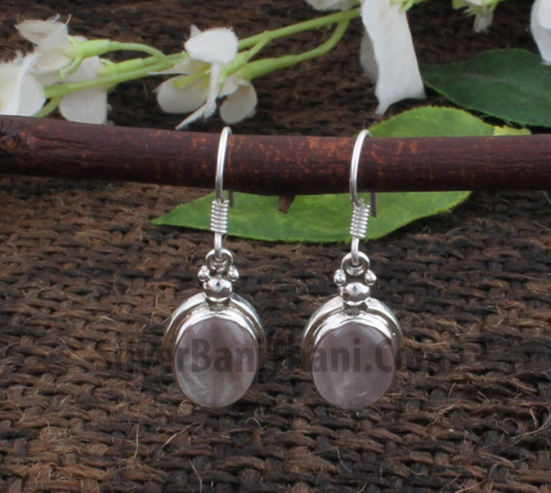 Amazing Rose Quartz Gemstone Earring-925 Sterling Silver Pink Stone Earring-Oval Stone Earring-Silver Jewelry-Layering Earring-Gift For Love