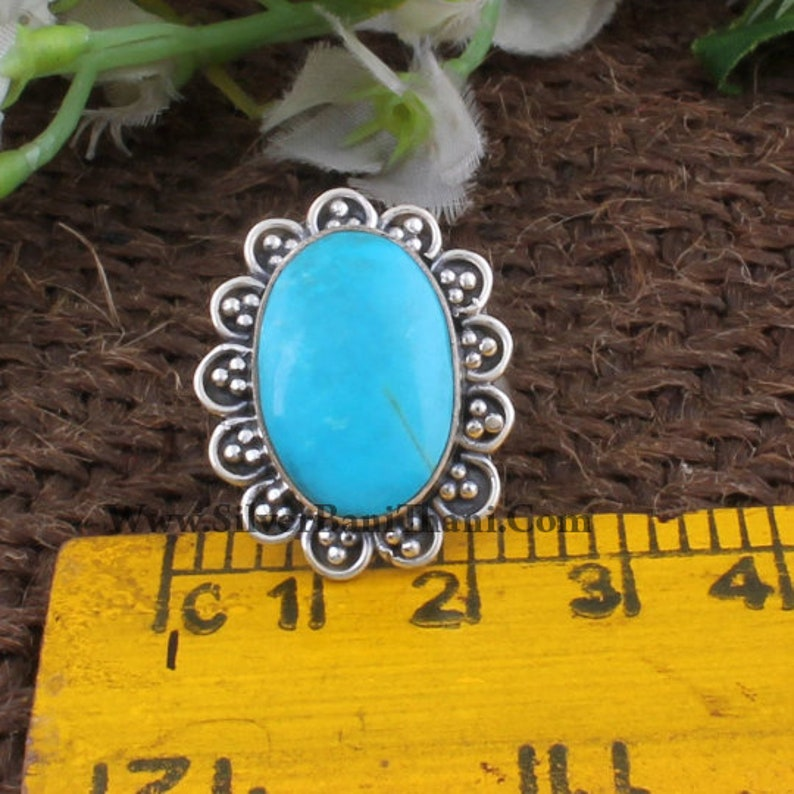925 Sterling Solid Silver Ring,Oval Cabochon Ring,Middle Finger Ring,Sleeping Beauty Turquoise Gemstone Ring Gift Item Statement Ring