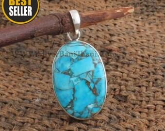 Composite Turquoise Pendant-Oval Cabochon Pendant 925 Sterling Solid Silver Pendant-Blue Copper Turquoise Pendant-Mohave Turquoise Pendant