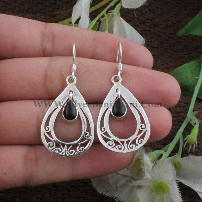 Black Onyx Earring-Handmade Earring 925 Sterling Solid Silver Earring-Black Onyx Semi Precious Stone Earring-Teardrop Banithani Earring