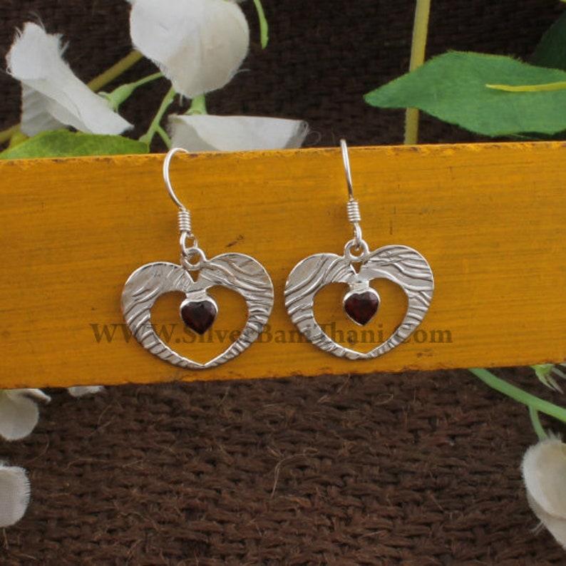 Heart Earring Red Garnet Semi Precious Stone Heart Earring 925 Sterling Solid Silver Earring Solid Silver Earring Red Garnet Earring
