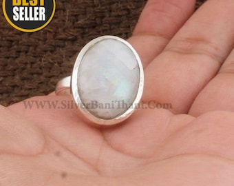 Natural Rainbow Moonstone Ring, White Stone Ring, Sterling Silver Ring, Ring For Women,Jewelry-Healing Stones, Anniversary Gift For Wife,